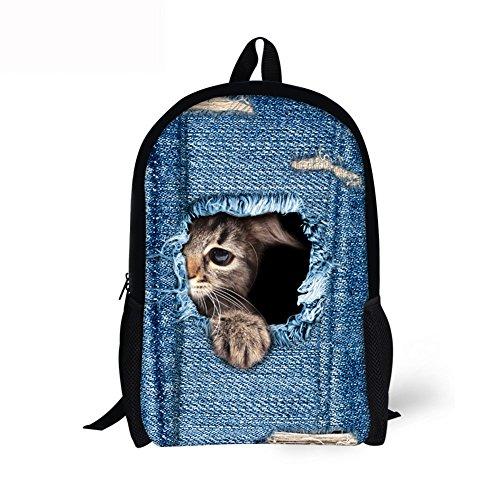 YWLINK Unisex Herren Damen 3D Hund Katze Tierdruck Rucksack GroßE KapazitäT Schulrucksack Hochschule Teenager Schultertaschen Komisch Daypacks