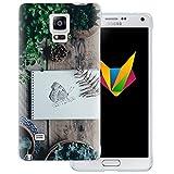 dessana Frühling transparente Silikon TPU Schutzhülle 0,7mm dünne Handy Soft Case für Samsung Galaxy Note 4 Schmetterling Garten