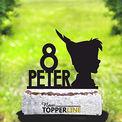 Peter Pan Geburtstagstortenaufsatz, personalisierbar, für Geburtstagskuchen, Party-Dekoration, Acryl