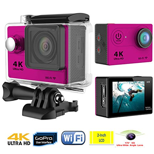 Love Life 4K Action Camera 12MP Wasserdichte Unterwasserkamera mit 170 ° Weitwinkel-WiFi-Sport-Cam mit Fernbedienung und Montagezubehör,Pink