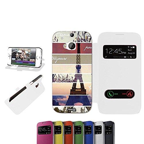 CASELABDESIGNS FLIP COVER CUSTODIA PARISMONUMENT PER HTC ONE M8 BIANCO - CUSTODIA PROTETTIVA RICHIUDIBILE IN (1 Posteriore Finestra Grafica)