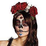 Adorno de Cabello Día de los Muertos - Rojo | Banda de Pelo La Catrina | Adorno de Cabeza con Rosas Rojas | Cinta de Pelo Calavera