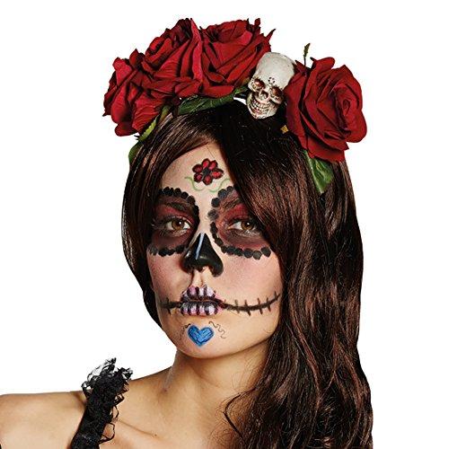 Amakando Tag der Toten Haarschmuck - rot - Rosen Kopfschmuck Sugar Skull Halloween Haarreifen Totenschädel Day of The Dead Diadem Kostüm Accessoire Damen La Catrina Haarreif