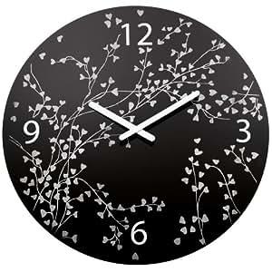 Koziol ROSI Horloge murale avec mécanisme à quartz et 4 chiffres Motif floral noir