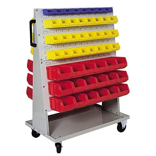 Jeu de bacs à bec - pour rayonnage mobile h x l x p 1410 x 1053 x 600 mm - 16 bleus (0,4 l) + 48 jaunes (1 l) + 36 rouges (4,5 l) - Bac Bac de stockage Bac à bec Bac à vis Bacs Bacs de stockage Bacs à bec Bacs à vis Conteneur de stockage à bec Conteneur à