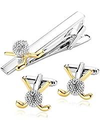 AnaZoz Modeschmuck Edelstahl Krawattennadeln & Manschettenknöpfe Set für Herren, Krawattenklammer Golf Hemd Business Hochzeit Silber