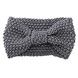 Sanwood Damen Häkelarbeit Schleife Design Stirnband Winter Kopfband Haarband (Hellgrau)