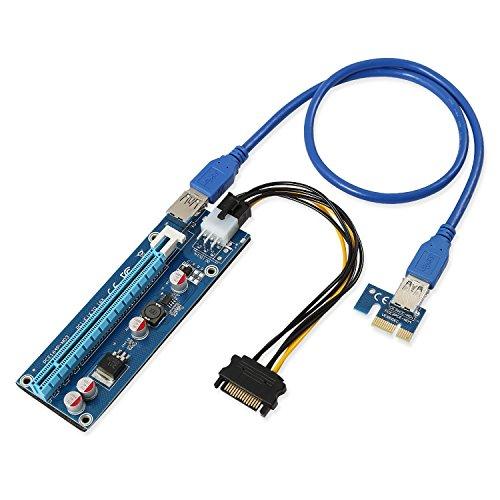 aaa products hochwertigen-PCI-E Express 1X auf 16X Extender Riser Karte + SATA 6pin Power Kabel + 60cm USB 3.0Verlängerungskabel-Versand aus Großbritannien 1 Pcs -