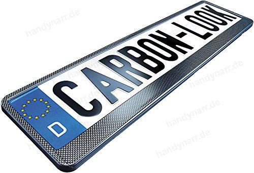 2x Hochglanz CARBON OPTIK LOOK PKW Kennzeichenhalter (schwarz) 520 x 110 mm Kfz Nummernschildhalter (Kennzeichenrahmen) - Auto-rahmen