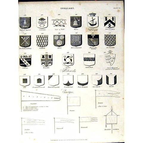 Stampa Antica delle Armi del Cappotto dell'Araldica di Britannica C1832 dell'Enciclopedia *0998 - Cappotto Britannico Di Armi