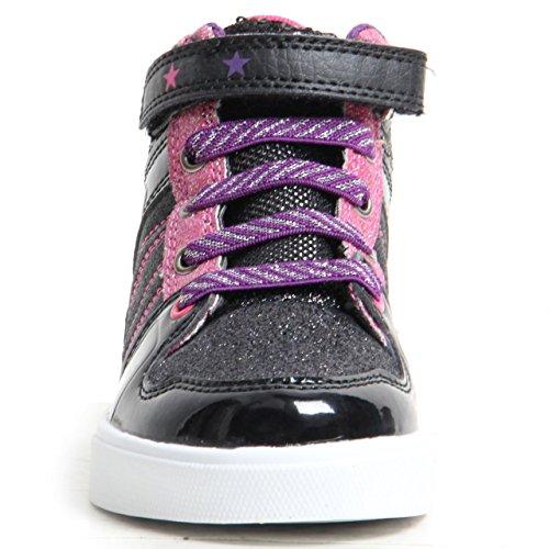 Kinder Mädchen Turnschuhe Sparkling Lace Up & Klettverschluss Trainer High Top Schuhe George Schwarz / Rosa