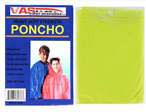 VAS First Response Robuster Ponchos mit Kapuze und seitlichen Druckknöpfen, Vinyl, Erwachsenengrößen, Damen, Herren, 10 mm, Vinyl, Notfall, Regen, 127 x 203 cm, neon Green, Adult (50