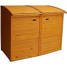 Andrewex Mülltonnenbox für 2Tonnen 156 x97 cm 240 Liter aus Holz Farbton:Pinie Mülltonnenschrank Mülltonnenverkleidung