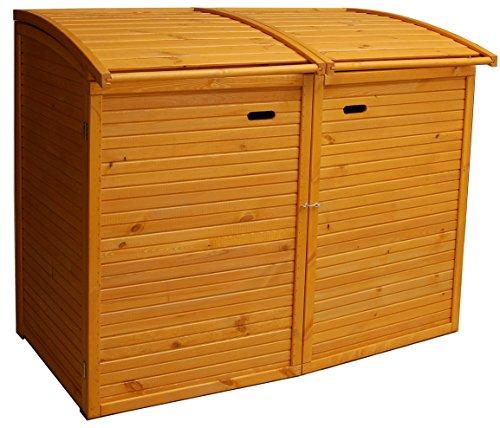 *Andrewex Mülltonnenbox für 2Tonnen 156 x97 cm 240 Liter aus Holz Farbton:Pinie Mülltonnenschrank Mülltonnenverkleidung*