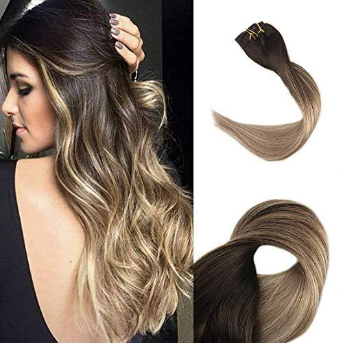 Full Shine 20 Zoll 10Pcs 100g/Set Full Head Clip in Haarverlängerungen Farbe # 2 Fading to # 8 und # 22 Honey Blonde Best Rated Clip in Haarverlängerungen