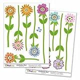 Kiwistar Blumenwiese anlegen, 12 Blumen, Gesamtgröße , Wandsticker Set Bogen Aufkleber farbig DIN A4 DIN A4Gesamtfläche: ca. 30x20cm