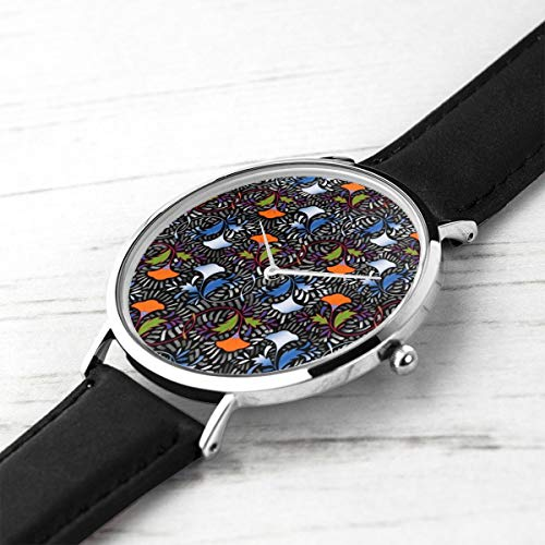 African Tapestry (Unisex Ultra Thin Fashion Minimalist Wrist Watches African Flower Tapestry Waterproof Quartz Casual Watch Mens Womens Womens)