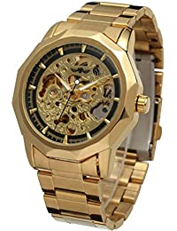 PIXNOR Reloj de pulsera mecánico automático de hombres (oro + negro)
