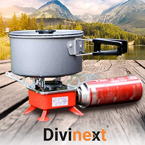Divinext Ultra-light Small Volume Square Folding Camping Butane Gas Stove Burner with Storage Bag