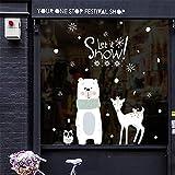 MAYOGO Weihnachten Wandaufkleber Spiegel Buchstaben Jahr Wand Stickers Glas Vitrine Applique Removable Weiß 90x60cm