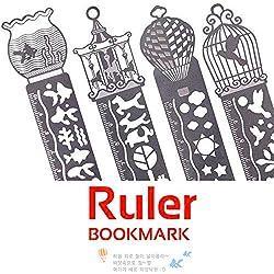 Setde marcapáginas de metal con plantillas de dibujo y Regla, para Escuela, Oficina, arte, pack de 4