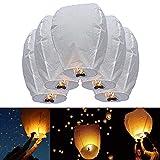 JRing Himmelslaternen Skylaternen, weiß Sky Laternen Chinesische Papier Laterne für Weihnachten, Silvester, Wunsch Party & Hochzeiten (5 Stück)