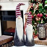 Valery Madelyn 48.5/ 64cm Stoff Weihnachtsdekoration Weihnachtswichtel Dekofigur Nordische Stimmung Thema 2er Set mit Bart Knollnase und Langer Zipfelmütze - Rot Grau