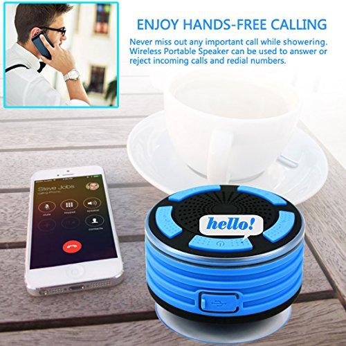 Smilin Portable Bluetooth Speaker Lautsprecher tragbarer Wasserdicht Wireless Funk Lautsprecher Wasserdicht mit Saugnapf Freisprecheinrichtung, integriertes Mikrofon für Freisprechfunktion mit FM-Radio, staub und stoßfest 100% Geld zurück-Garantie, CE/ROHS zertifiziert/FCC zertifiziert (Stil 1) - 5