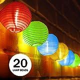 UBEGOOD Solar Lichterkette, bunt Lampion 20 LED Laterne Wasserdichte Gartenbeleuchtung Lichterkette Lampion Laternen Deko für Garten, Weihnachten, Party, Hochzeit, Innen und Außen mit dem Stecker