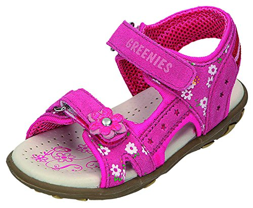 Greenies enfants sandales M. Velcro Sable. Rouge - Rose