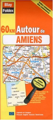 Carte routière : 60 km autour de Amiens - Côte d'Opale (avec index complet des communes et légende en 4 langues)