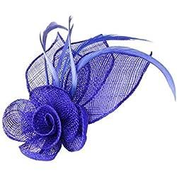 Tocado Sinamay con adorno de flor y pluma, con pinza y broche, color azul real