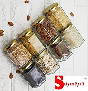 Satyam Kraft (Pack of 8) Hexagon Glass Jar and Container(220 ml) with Rust Proof Air Tight Lid/Diwali Gift/Diwali Gifts for Family and Friends/Diwali Gift Items (Hexagon jar, 8)