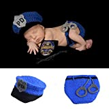 HAPPY ELEMENTS Neugeborenes Baby Handgemachtes Polizist Häkelarbeit Hut Windel Gesetztes Säuglingskostüm Ausstattungs Fotoprops