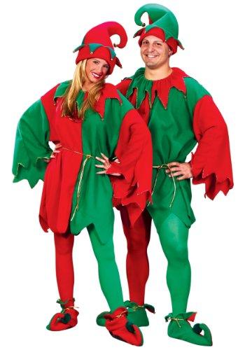 Weihnachts-Wichtel Kostüm für Erwachsene mit Glöckchen inkl. Hut und Stulpen - rot/grün - One Size / Unisex (Weihnachtswichtel-kostüm)
