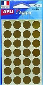 AGIPA Etui de 112 pastilles Gommettes Rondes Diam 15 mm Or