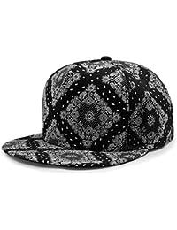 LOCOMO Black White Paisley Boteh Buta Persian Pickle Baseball Cap FFH254s01