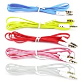 #7: (2 pcs pack) Flat Aux cable 3.5 jack for all mobile and music system-assorted color