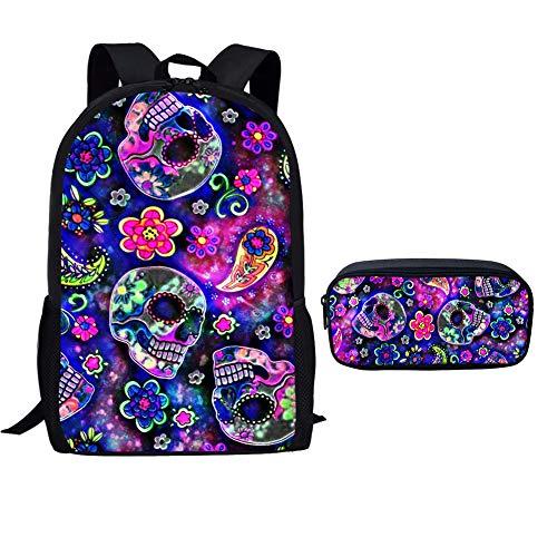 POLERO Cartoon-Schädel-Schule-Beutel für Mädchen, Teens Rucksack Set, Mädchen Rucksack mit Bleistift-Beutel, 2 in 1 Back Pack -