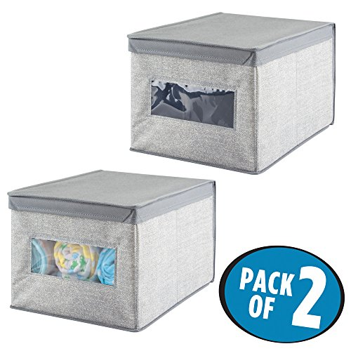 mDesign Kinderzimmer Aufbewahrungsbox - 2er-Set Aufbewahrungsboxen Kunststoff - als Schubladenorganizer für Babysachen, Spielzeug oder Decken geeignet - grau
