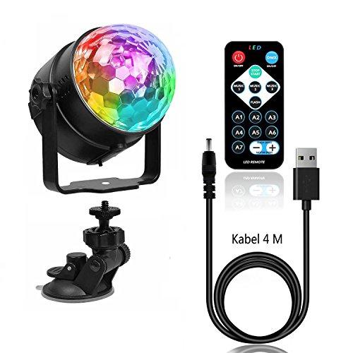USB 4M Kabel LED Disco Beleuchtung Lichteffekte,Benma DJ Discokugel Kinder Licht Party Lampe Ball Bühnenbeleuchtung Farbwechsel Partylicht Discolicht mit Fernbedienung für Weihnachten Geburtstag Bar