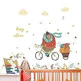 Cartoon Animals 50 * 70Cm Adesivi murali per bambini Camere Home Decor Autunno Orso in sella a biciclette da parete Decalcomanie in pvc Murale Arte Poster Fai da te