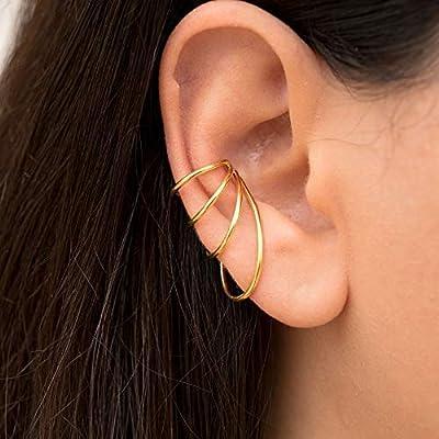 Boucle d'oreille minimaliste, faux piercing oreille manchette pas de piercing, boucle d'oreille de non-percé d'oreille de brassard d'oreille, earcuff argenté, Boucle d'oreille par Emmanuela