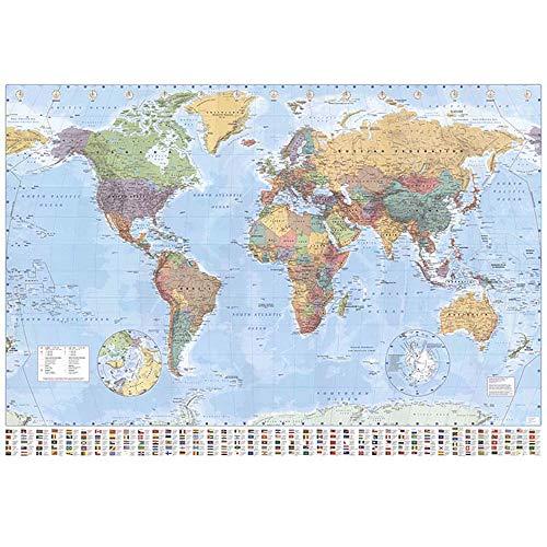 EEKUY Tapiz del Mapa del Mundo Grande