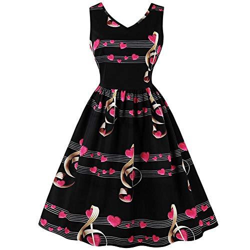 Elegantes Vintage Damen Kleid mit V-Ausschnitt ärmellose A-Linie Musik Hinweis Print Plissees Midikleid(M) - Röcke Plissee Ärmelloses Kleid
