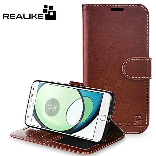 Moto Z Play Cover, REALIKE™ {Imported} Premium Leather Wallet Flip Case For Motorola Moto Z Play (Royal Series - Brown)