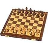 MHE- Wooden Chess Board Handicrafted Travelling Chess Board & Folding Chess Board Set Wooden Game Handmade, Classic Game Of Brilliance, Small Chess Pieces, 10 Inches