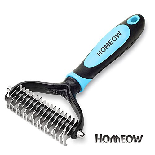 Homeow dog pet grooming spazzola pettine sottopelo rake, dematting pettine groomimg stripping deshedding tool per gatti, 9 + 17 denti larghi (blu)