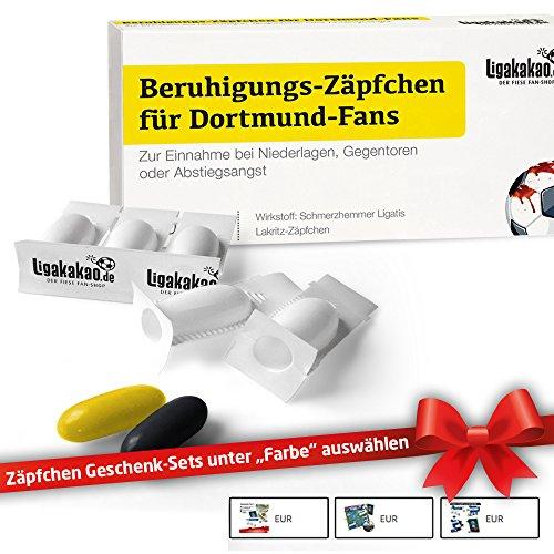 Beruhigungs-Zäpfchen® für Dortmund-Fans | Lakritz-Zäpfchen zur Anwendung bei Niederlagen & Abstiegsangst| Schalke, Bayern & Fußball-Fans aufgepasst: Männer Geschenke & Liga Topseller (Frauen-fußball-liga)