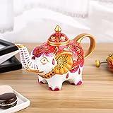 Artvigor Porzellan Teekanne 800 ml, Kaffee Tee Kanne, Elefant Figur, Geschenkverpackung